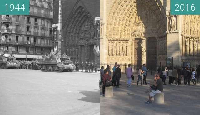 Before-and-after picture of Notre-Dame (Liberation of Paris) between 1944-Aug-26 and 2016-Sep-29