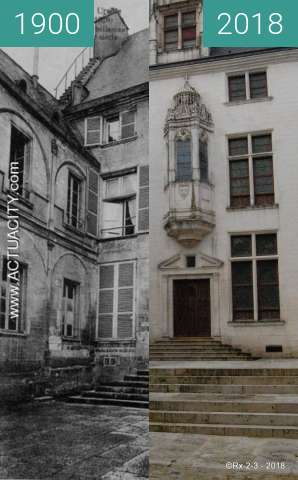 Before-and-after picture of TROYES - Hotel Juvénal des Ursins (XVIe s.) between 1900 and 2018-Feb-20