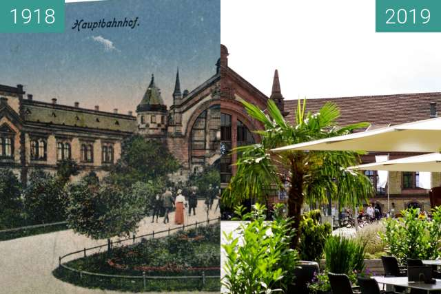 Before-and-after picture of Osnabrücker Hauptbahnhof between 1918 and 2019