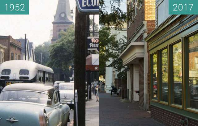 Before-and-after picture of West St. near Church Circle, Annapolis, Maryland between 1952 and 2017-Oct-03