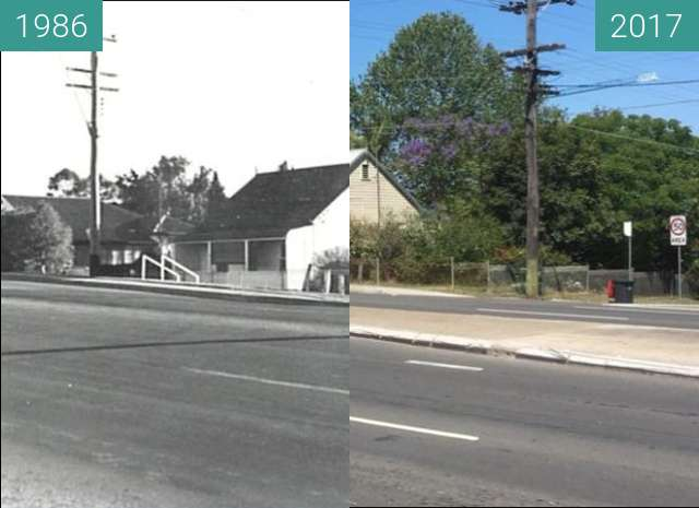 Before-and-after picture of Parker Street, Penrith between 1986 and 2017