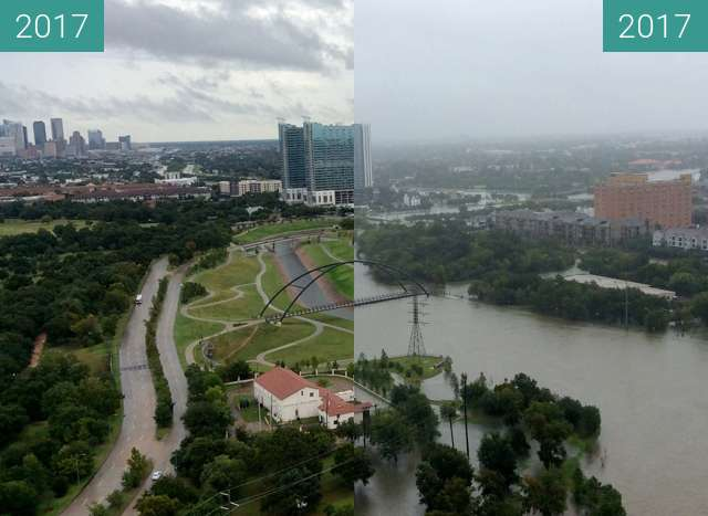 Before-and-after picture of Hochwasser in Houston durch Orkan Harvey between 2017-Aug-25 and 2017-Aug-26
