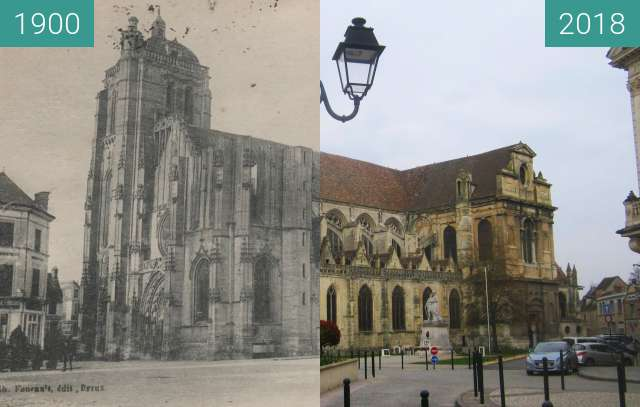Before-and-after picture of Église St. Pierre (Dreux) between 1900 and 2018-Mar-25