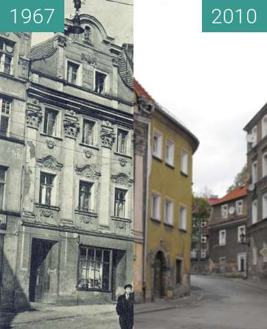 Before-and-after picture of Palaces in Klodzko between 1967 and 2010