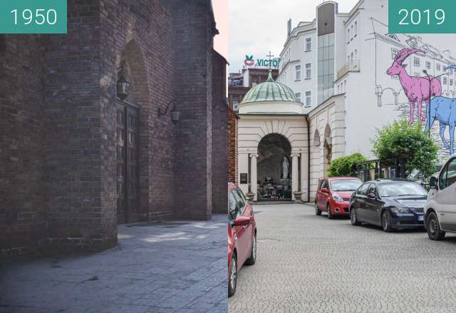 Before-and-after picture of Ulica Św. Marcin, kościół Św. Marcina between 1950 and 2019-May-23