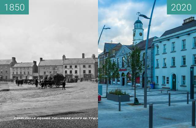 Before-and-after picture of O Connor Square Tullamore between 1850 and 2020-Jun-07