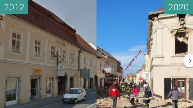 Before-and-after picture of 2020 Petrinja earthquake between 09/2012 and 2020-Dec-29