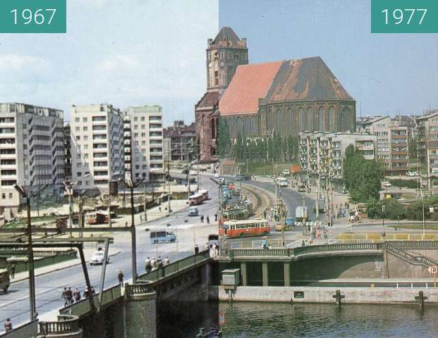 Before-and-after picture of Wyszyńskiego street between 1967 and 1977
