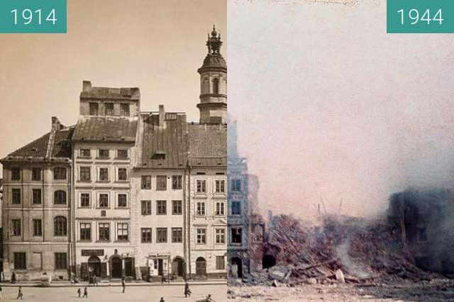 Before-and-after picture of Stary Rynek between 1914 and 1944