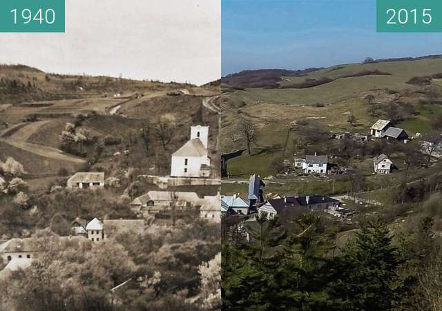 Before-and-after picture of Church and Vel´ké Pole from East between 1940 and 2015