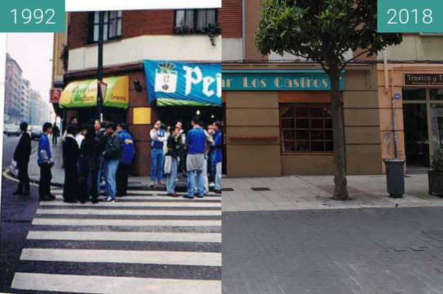 Before-and-after picture of Cervecería Bochum en Oviedo between 1992 and 2018-May-30