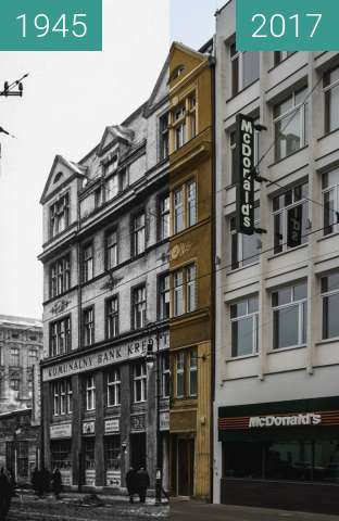 Before-and-after picture of Ulica 27 Grudnia between 1945 and 2017-Jun-15