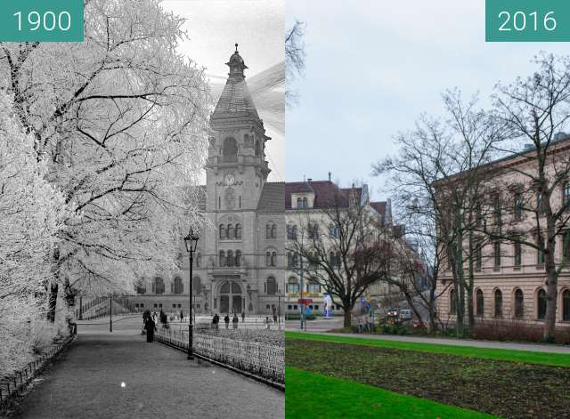 Before-and-after picture of Hauptpost between 1900 and 2016-Jan-02