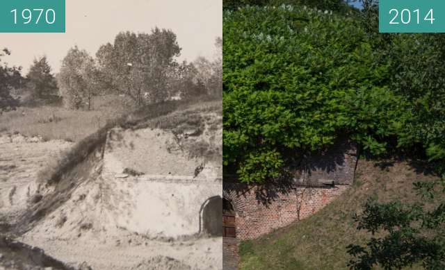 Before-and-after picture of Fort Winiary between 1970 and 2014-Aug-20