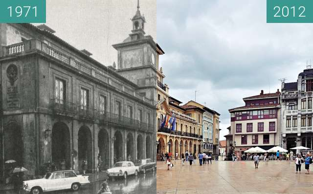 Before-and-after picture of Ayuntamiento de Oviedo / Oviedo's city Hall between 1971 and 2012