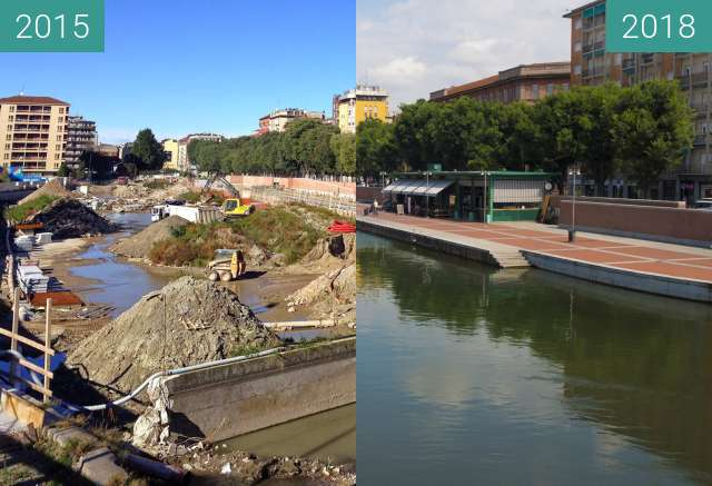 Before-and-after picture of Darsena between 2015 and 2018-Jun-06