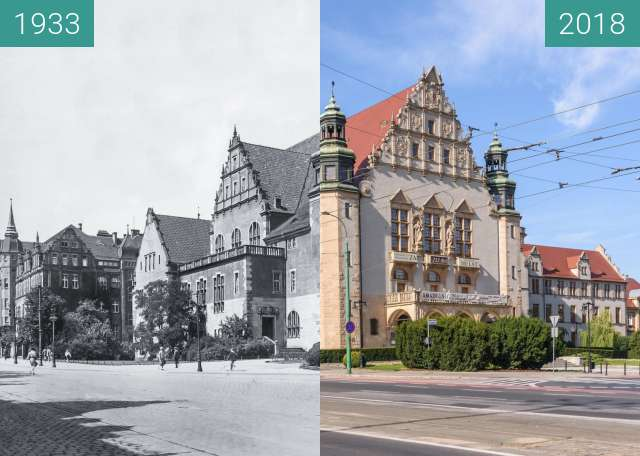 Before-and-after picture of Ulica Św. Marcin between 1933 and 2018