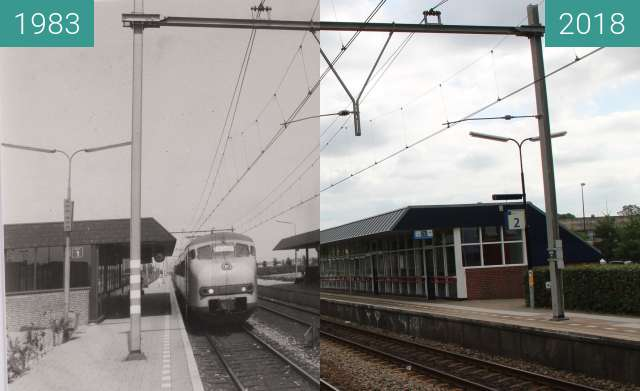 Before-and-after picture of Station Alkmaar Noord between 10/1983 and 2018-Jul-11