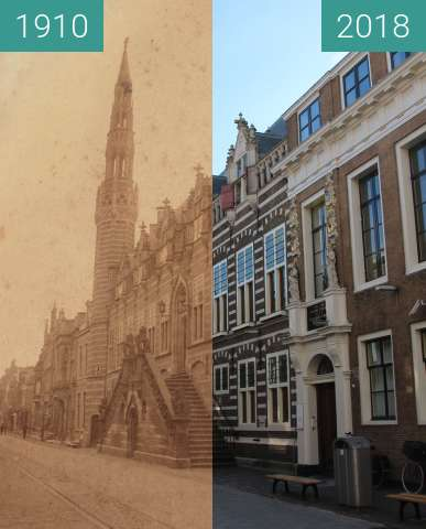 Before-and-after picture of Town hall Alkmaar between 1910 and 2018-Feb-27