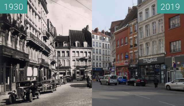 Before-and-after picture of Place des Reignaux between 1930 and 2019-Apr-06