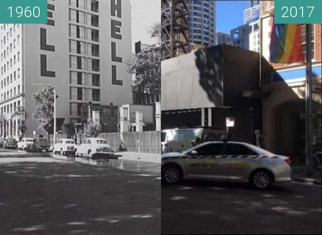 Before-and-after picture of Carrington Street, Sydney between 1960 and 2017