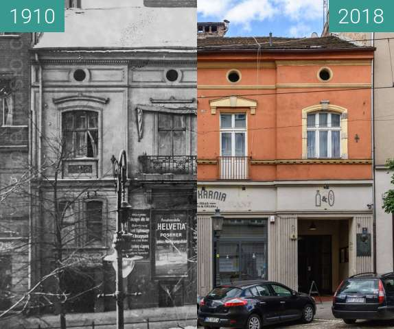 Before-and-after picture of Ulica Podgórna between 1910 and 2018