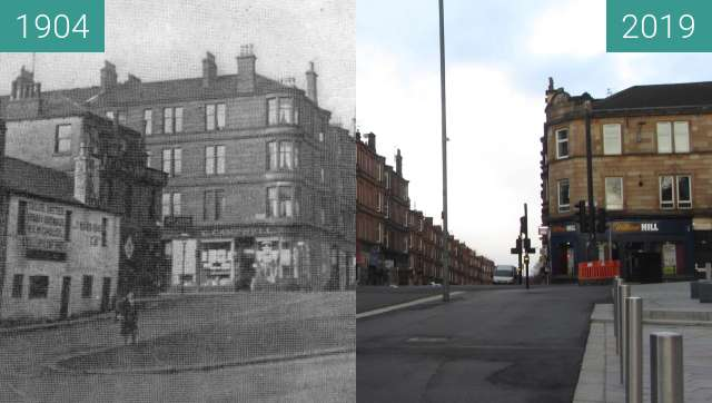 Before-and-after picture of Shawlands Civic Square between 1904 and 2019-Mar-24