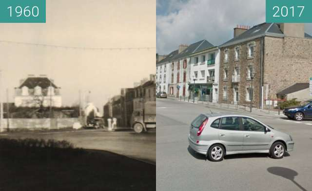 Before-and-after picture of Carrefour du ballon Auray between 1960 and 2017