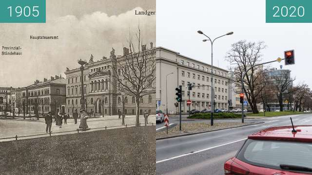 Before-and-after picture of Aleje Marcinkowskiego between 1905 and 2020-Feb-03