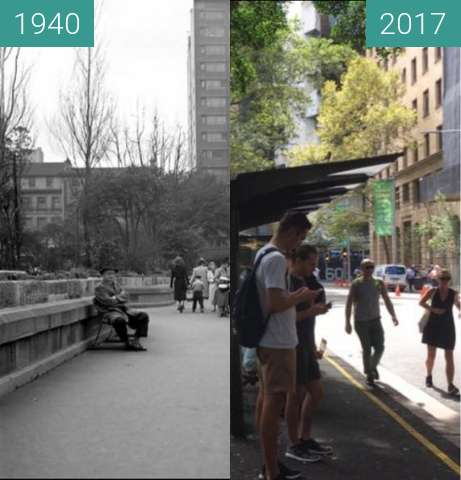 Before-and-after picture of Carrington Street Bus Stop between 1940 and 2017