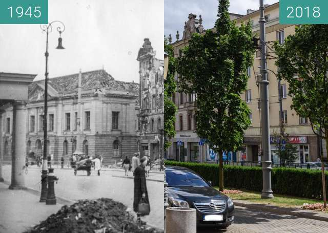 Before-and-after picture of Aleje Marcinkowskiego between 1945 and 2018