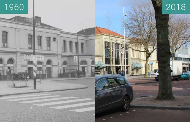 Before-and-after picture of Station square Alkmaar 1962-2018 between 1960 and 2018-Feb-27