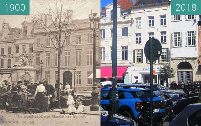Before-and-after picture of Place du Grand Sablon between 1900 and 2018-Mar-31