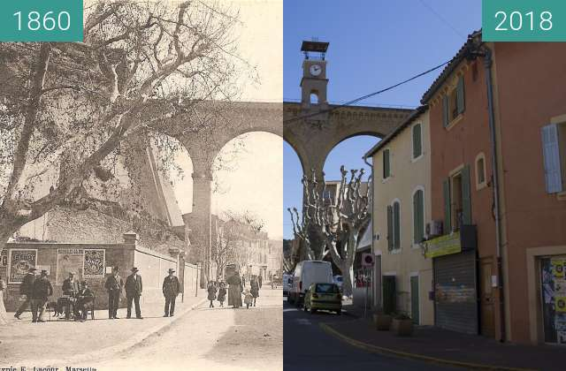 Before-and-after picture of Horloge Saint-Chamas between 1860 and 2018