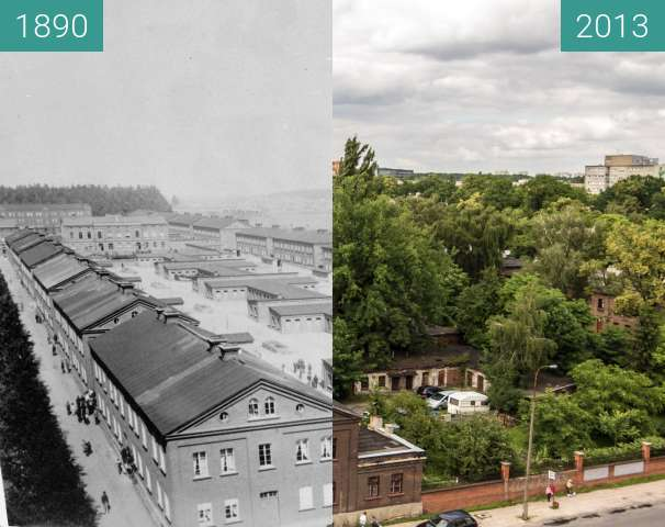 Before-and-after picture of Księży Młyn between 1890 and 2013