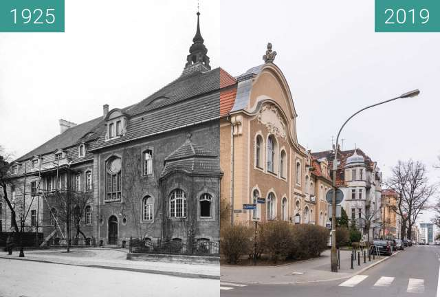 Before-and-after picture of Ulica Mickiewicza between 1925 and 2019-Mar-07