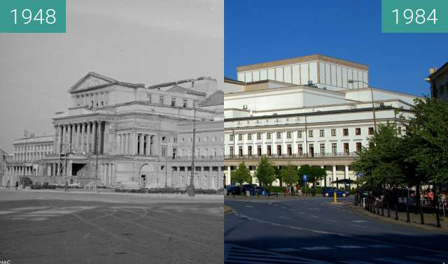 Before-and-after picture of Warsaw Theatre between 1948 and 1984