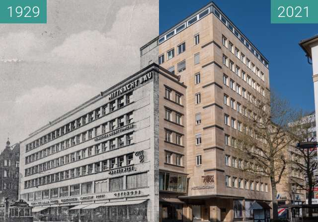 Before-and-after picture of Stuttgart, Mittnachtbau between 1929 and 2021-Apr-25