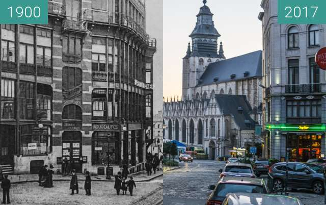 Before-and-after picture of Maison du Peuple, Bruxelles between 1900 and 2017