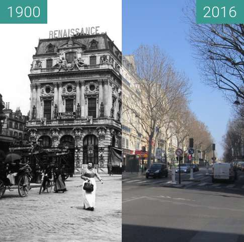 Before-and-after picture of Théâtre de la Renaissance between 1900 and 2016-Mar-13