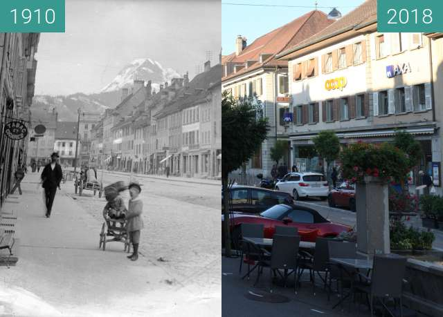 Before-and-after picture of Ville de Bulle (en Suisse, canton de Fribourg) between 1910 and 2018-Jul-18