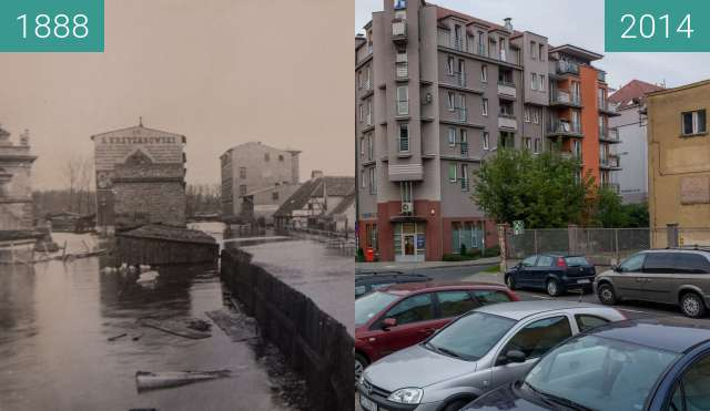 Before-and-after picture of Poznań, ulica Piaskowa between 1888 and 2014-Aug-20