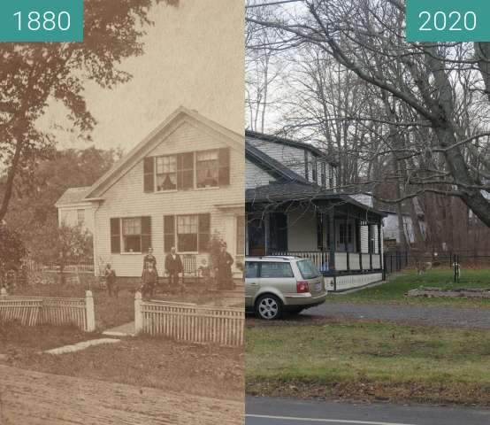 Before-and-after picture of High Street House, Belfast, Maine between 1880 and 2020