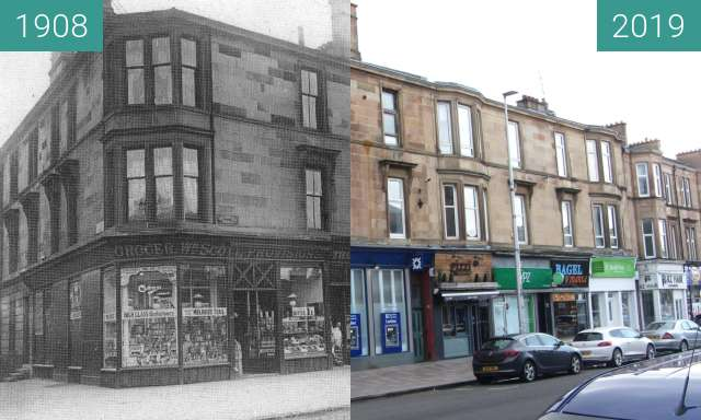 Before-and-after picture of Bothwell Terrace between 1908 and 2019-Mar-24
