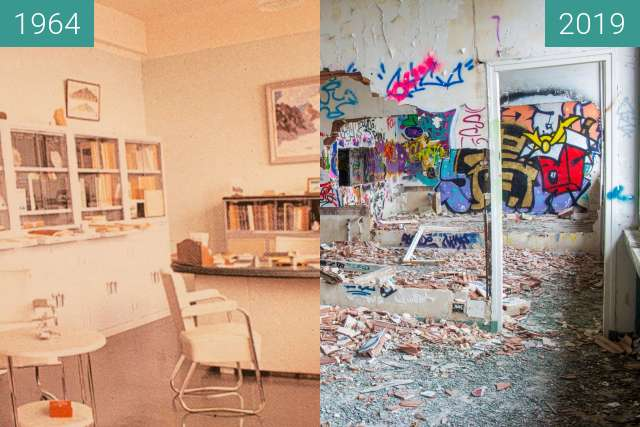 Before-and-after picture of Un bureau de professeur between 1964 and 2019-Oct-31