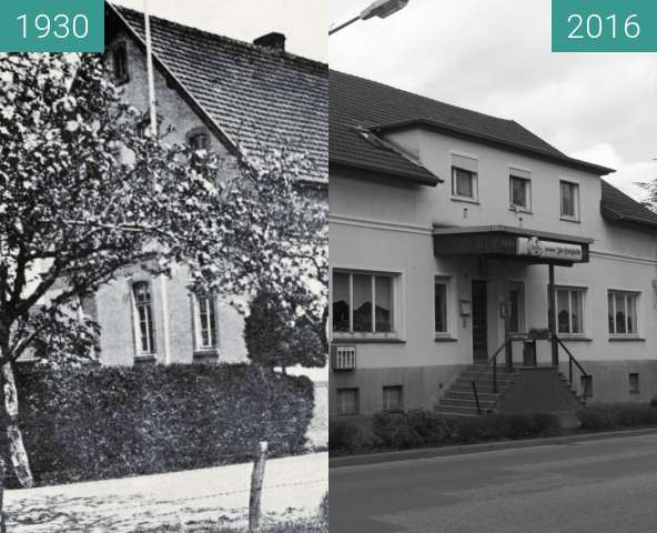 Before-and-after picture of Gaststätte Zur Holzheide, Tecklenburger Straße between 1930 and 2016-Feb-24