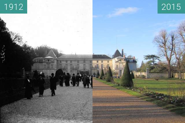 Before-and-after picture of Château de Malmaison between 1912 and 2015-Jan-31