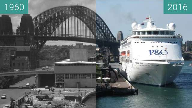 Before-and-after picture of Circular Quay Overseas Passenger Terminal between 1960 and 2016