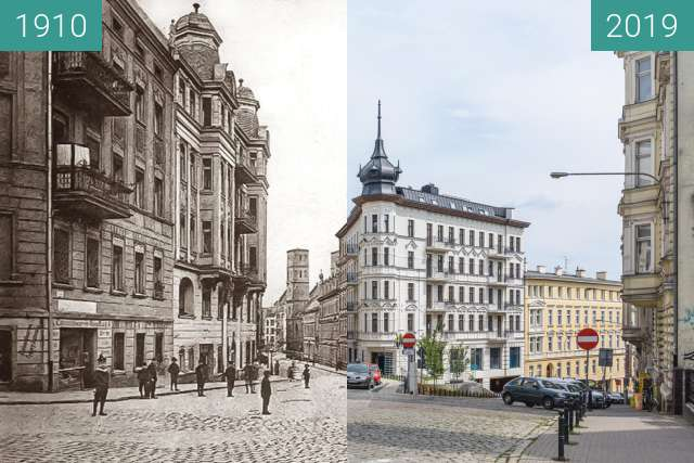 """Before-and-after picture of Ulice Krysiewicza/Ogrodowa, kamienica """"Żelazko"""" between 1910 and 2019-Aug-07"""