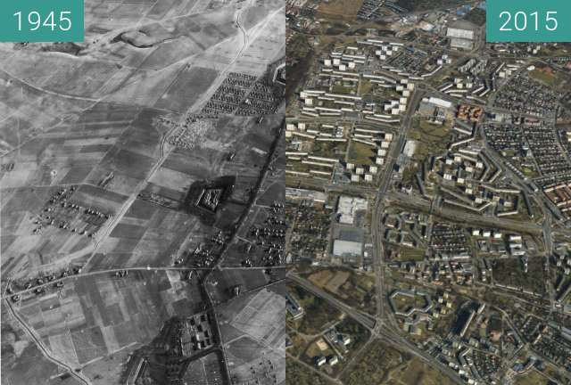 Before-and-after picture of Poznań, Winogrady between 1945-Apr-20 and 2015-Apr-20